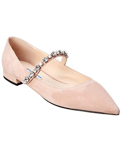 d80888bacf1 Image Unavailable. Image not available for. Color  Prada Crystal Embellished  Suede Ballet Flat ...