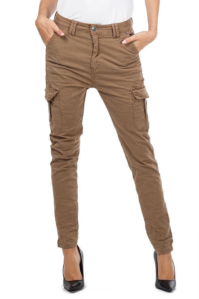 M Jeans Creased Cotton Slim Leg Cargo Combat Trousers