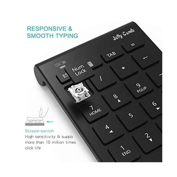 Wireless Number Pad, Jelly Comb N030 Portable Mini USB 2.4GHz 22-Key Financial Accounting Numeric Keypad Keyboard…