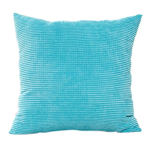 Iuhan Fashion Cotton Corduroy Cushion Cover Decorative Sofa Home Throw Pillow Case (Sky Blue)