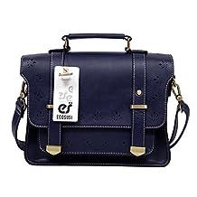 Ecosusi Women PU Leather Messenger Bag College Girls Satchel Bag