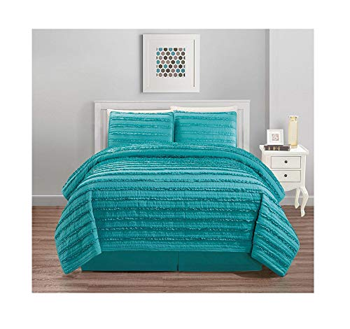 (All American Collection New 4pc Pleated Ruffle Bedspread/Quilt Set with Bedskirt (Queen Size, Teal Blue))