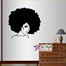Wall Vinyl Decal Home Decor Art Sticker Beautiful Woman Girl with Afro Hair Beauty Hair Salon Shop Fashion Room Removable Stylish Mural Unique Design