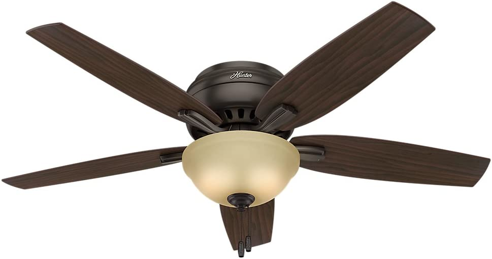 "Hunter Newsome Indoor Low Profile Ceiling Fan with LED Light and Pull Chain Control, 52"", Premier Bronze"