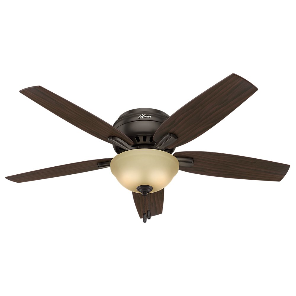 Hunter Indoor Low Profile Ceiling Fan with light and pull chain control – Newsome 52 inch, Premier Bronze, 53314