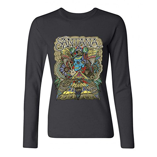 LSLEEVE Women's The Band Santana Long Sleeve T-shirt Black L