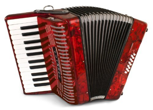 Hohner Accordions 1303-RED 37-Key 12-Bass Accordion Bundle with Zorro Sounds Polishing Cloth