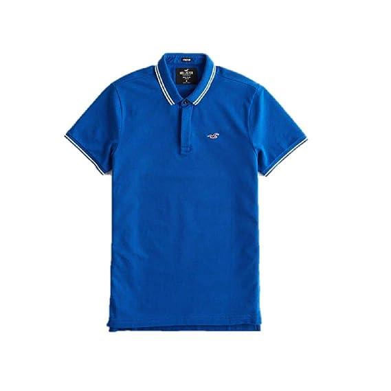 d00bff62cbd939 Hollister New Blue ICON Epic Flex Stretch Polo Shirt Men SZ Large/L: Amazon. co.uk: Clothing