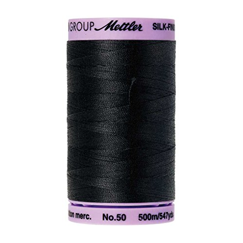 Mettler Silk-Finish Solid Cotton Thread, 547 yd/500m, Black
