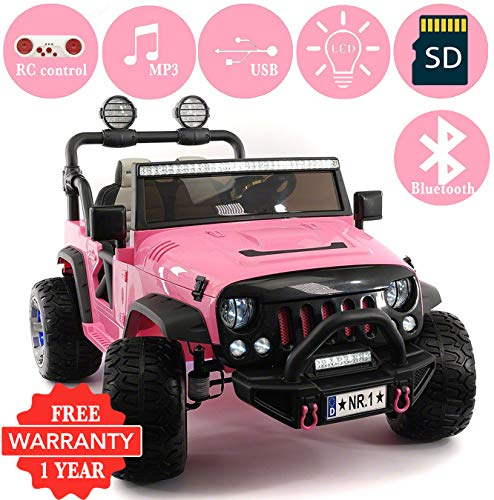 2019 Explorer 2 (Two) Seater 12V Kids Ride-On Car Truck with R/C Parental Remote + EVA Rubber LED Wheels + Leather Seat + MP3 Player Bluetooth FM Radio + LED Lights (1 Year Warranty) (Best 4 Wheel Drive Cars 2019)