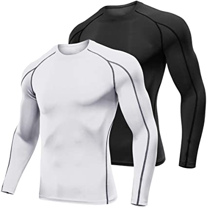 be414a06a021 Lavento Men's Compression Shirts Long-Sleeve Dri Fit Workout Undershirts (2  Pack-1059
