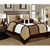 Legacy Decor 7 Pieces Brown & Beige Micro Suede Patchwork Comforter Set Bed-in-a-bag Washable King Size