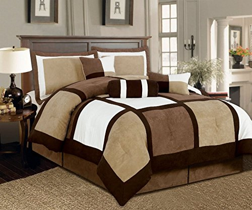 Legacy Decor 7-pieces Brown & Beige Suede Patchwork Comforter Bedding Set Washable Queen Size (Brown Bedding Set)
