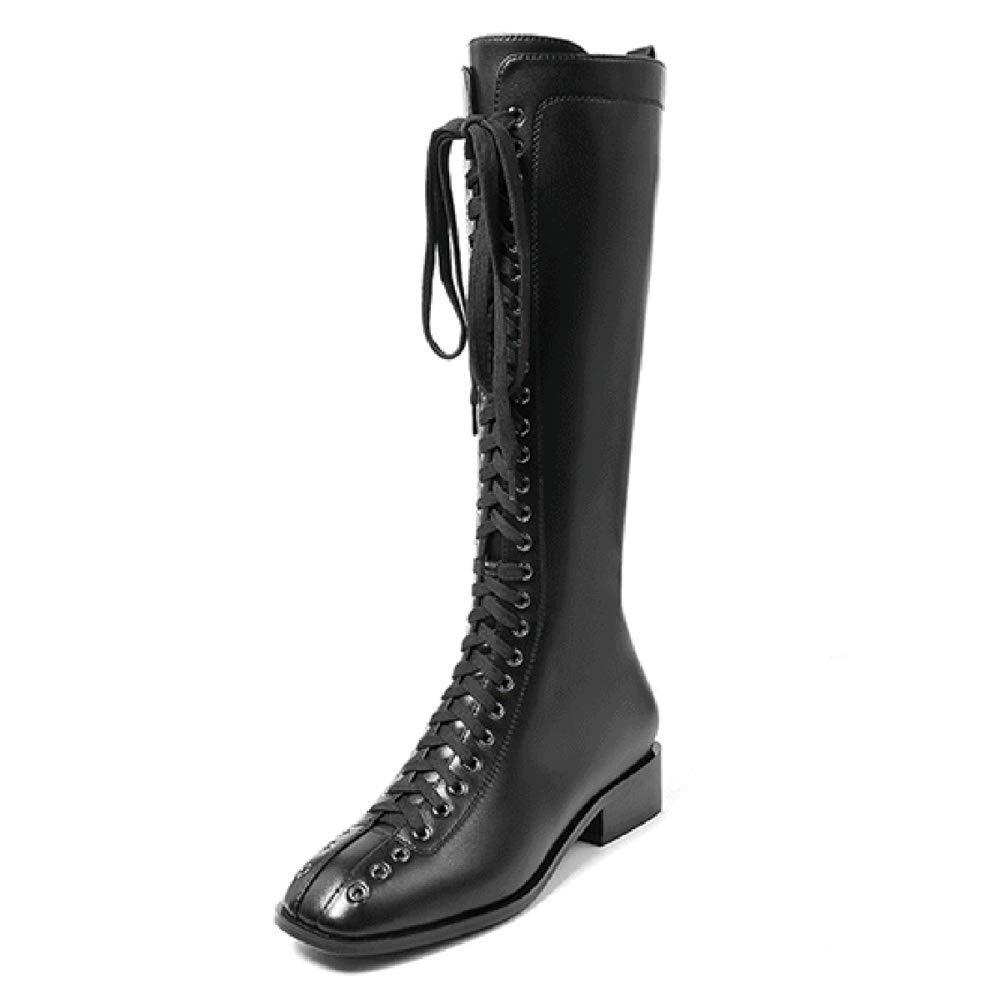 Frauen-Stiefel-Art- Und Weisedamen-Quadrat-Kopf Schnüren Sich Oben Kniehohe Herbst-Winter-Aufladungs-Frauen-Lange Aufladungen Reißverschluss-Schuh