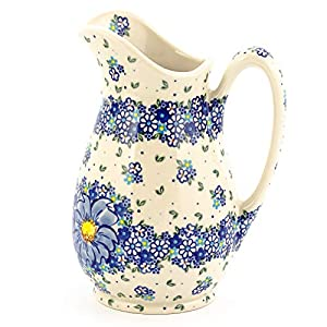 Polish Pottery, Handpainted and Handcrafted Water or Juice Jug 1.7L ― Blue Flowers Artistic Pattern (A116)