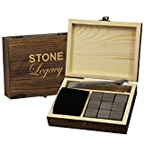 Image of Stone Legacy Whiskey Stones - Premium 100% Natural Soapstone Set of 9 Chilling rocks + Classic Tongs + Velvet Bag – No water dilution and keep your drink ice cold - stored in an engraved wood box