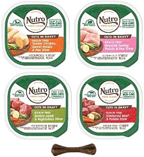 product image for Nutro Cuts in Gravy Adult Wet Dog Food for Small Breed Petite Dogs - 4 Flavor Variety Pack - 8 Trays, 3.5 Oz Each - Plus Dog Bone, Earth Friendly Poop Bags & Animal Sticker (11 Items Total)