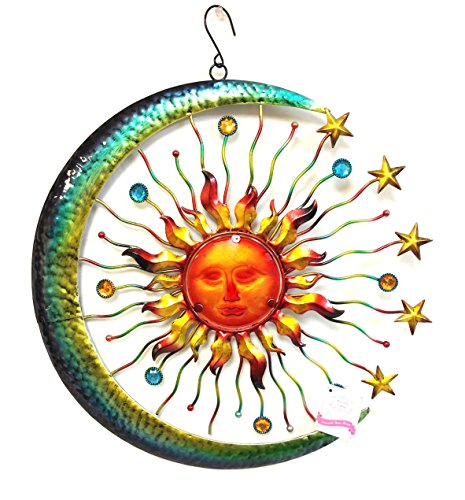 Bejeweled-Display-Large-Sun-Face-Star-Moon-w-Glass-Wall-Art-Plaque-Home-Decor