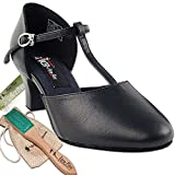Women's Ballroom Dance Shoes Salsa Latin Practice Dance Shoes Black Leather CD1113EB Comfortable - Very Fine 2'' Heel 8.5 M US [Bundle of 5]
