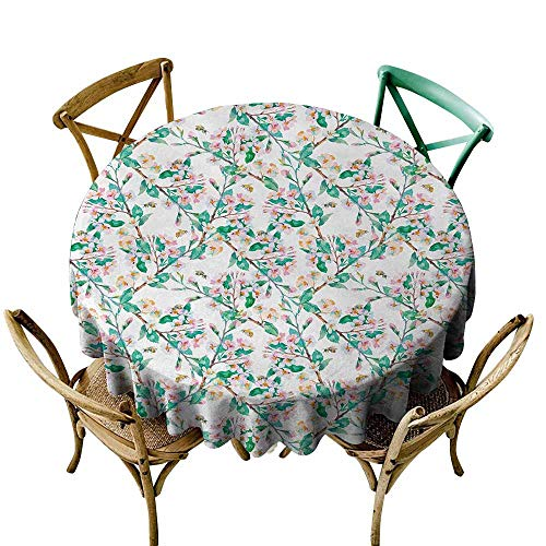 Wholesale tablecloths Flower,Pink Cherry Blossoms Pattern with Bumble Bees Japanese Spring Themed Chic Print,Pink Green,for Bistro Table ()
