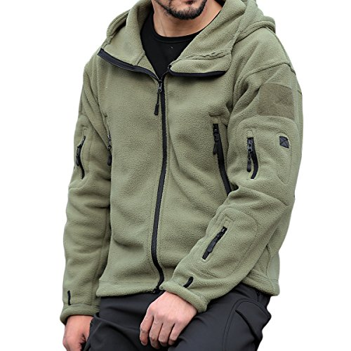 PrettyChic Men's Fleece Hoodie Jacket Full Zip Military Tactical Fleece Jackets, Green, XX-Large