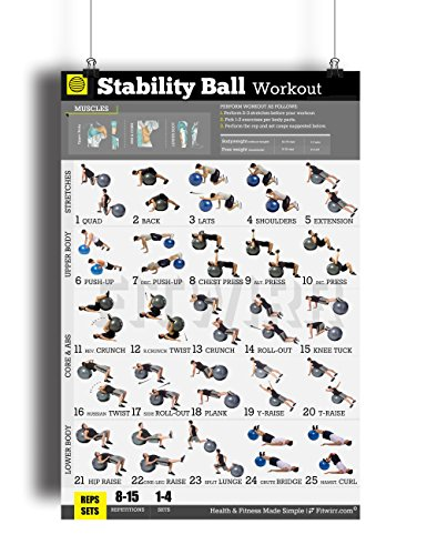 Exercise Ball Workout Poster LAMINATED