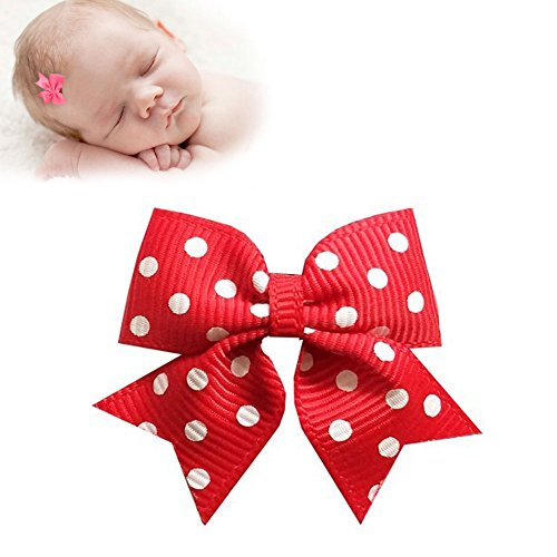 Red Swiss Dot - TruStay Clip - Butterfly baby hair bows - Best No Slip Barrette for Fine Hair (C2-Red Swiss Dots)