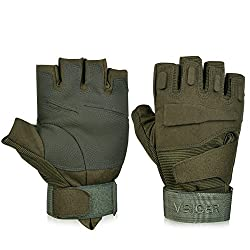 Vbiger Tactical Gloves Military Gloves Shooting Gloves Fingerless Half-finger Riding Hunting Cycling Gloves (Army Green, M)