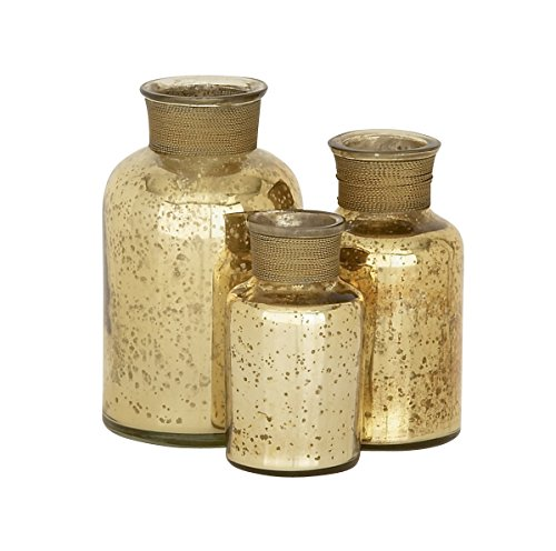 Deco 79 Glass Bottle, 7 by 6 by 5-Inch, Gold, Set of (Acrylic Gold Jars)