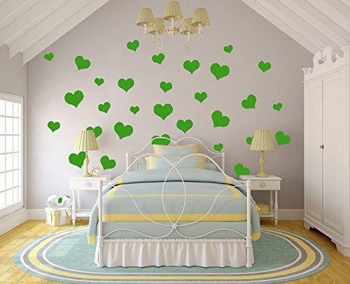 N.SunForest 40 Lime-tree Leafy Love Hearts Vinyl Wall Decals Removable DIY Décor Stickers Baby Nursery Wall Art Mural