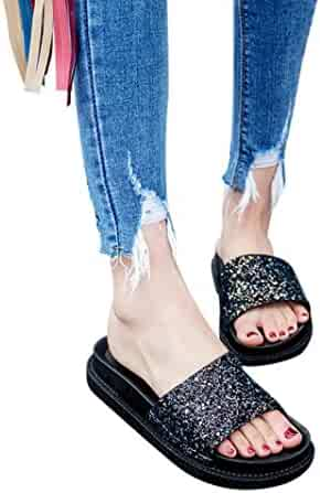b74fea3d227f Pervobs Sandals Women Flat Heel Slides Sandals Basic Sequins Round Toe  Sandals Slipper Beach Shoes