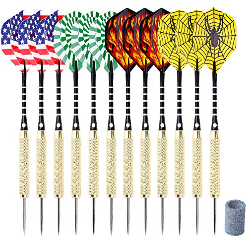 ANSOWNY Darts Steel Tip Set, Steel Tip Darts 18 Grams, Aluminum Shafts, Brass Barrels, Stainless Steel Needle and Extra Dart Sharpener - 12 Pack with Case