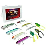 JawLures Bass Lures Freshwater Combo   Designed to Target Largemouth, Smallmouth, Peacock, Snakeheads, Walleye, Pike and More   Includes 3 Top Water Frog Lures, 5 Poppers and 2 Minnow Body Crankbaits