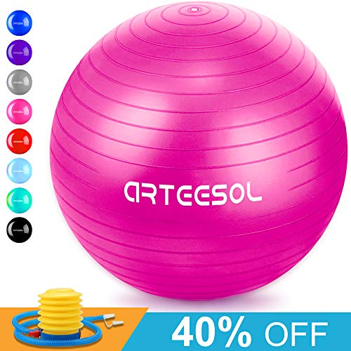 arteesol Exercise Yoga Ball, Extra Thick Stability Balance Ball (45CM-75CM / 5 Colours), Professional Grade Anti Burst & Slip Resistant Balance, Fitness&Physical Therapy, Birthing Ball with Air Pump (Best Anti Burst Stability Ball)