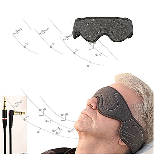 SHUHOME Velcro Adjustable Earphones For Comfortable Wired Sleep Headphones Eye Mask with Built-in HD Audio Speaker, Perfect for Sleeping, Air Travel, Meditation and Relaxation (Dark gary) (Dark gary)