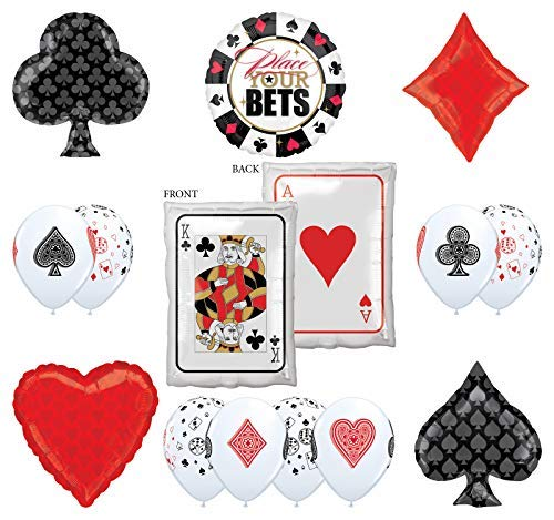 Mayflower Products Casino Night Party Supplies 14pc Ace King Place Your Bet Balloon Bouquet Decorations -