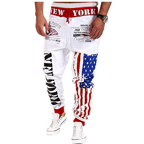 Chen Men's Jogger Pants Casual Flag Pattern Hip Pop Jogging Sweat Pants Trousers (US L/Tag XXL, 02White)