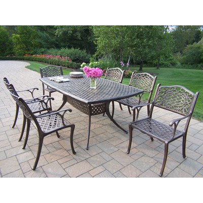 Oakland Living Oxford Mississippi Cast Aluminum 7-Piece Dining Set with 70 by 38-Inch Table