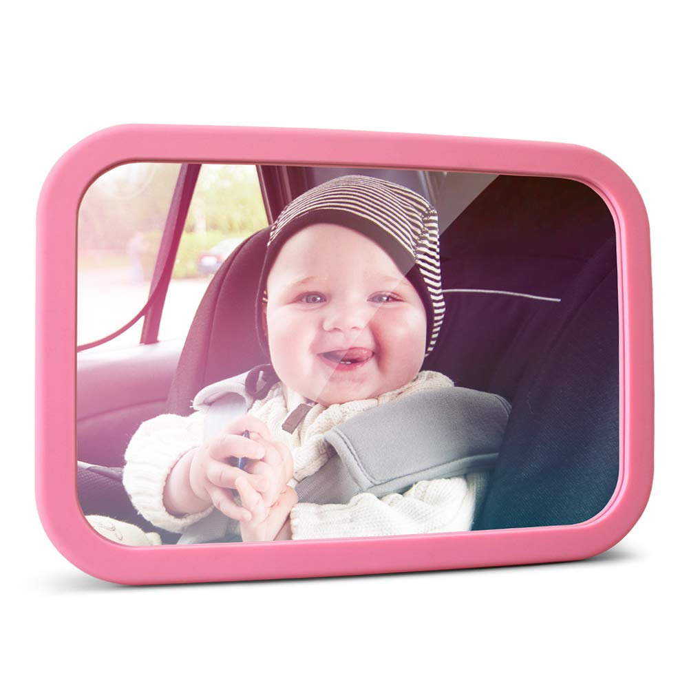 MYSBIKER Baby Backseat Mirror,360°Rotation and Shatterproof,Rear View Baby Kids Car Mirror with Dual Adjustable Straps,Clear View Ensure Your Baby is Safe in Car (Pink) by MYSBIKER