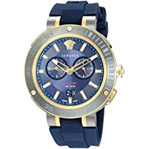 Versace Men's V-Extreme PRO Stainless Steel Swiss-Quartz Watch with Silicone Strap, Blue, 20 (Model: VCN010017