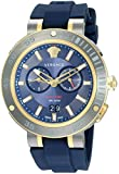Versace Men's 'V-EXTREME PRO' Swiss Quartz Stainless Steel and Silicone Casual Watch, Color Blue (Model: VCN010017)