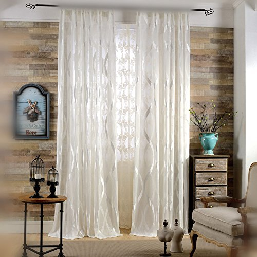 WPKIRA Rod Pocket Top Room Decor Modern Vertical Stripes Lace Sheer Curtain Jacquard Semi-shading Screens Window Curtain For Balcony Living Room 1 Panel Width 52 by Length 63 inch For Sale