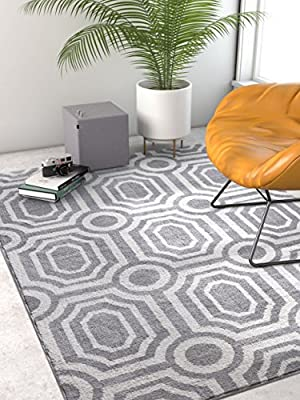 Victoria Grey Modern Damask Microfiber Area Rug Doormat Accent SmallCharcoal & White Floral Carpet