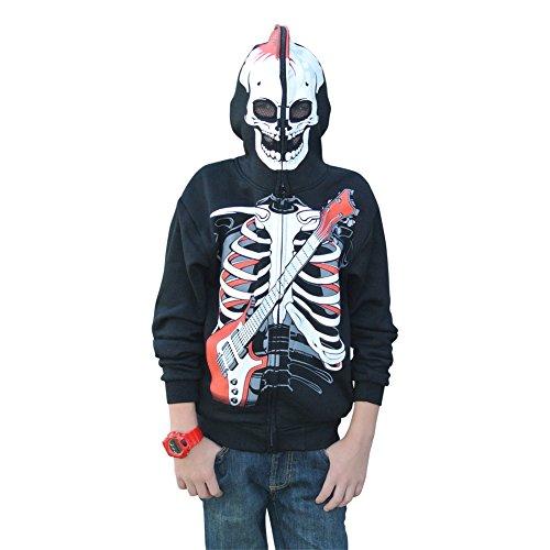 [Edgy Hoodies (M, Red and Black)] (Boys Skeleton Sweatshirt Hoodie Costumes)