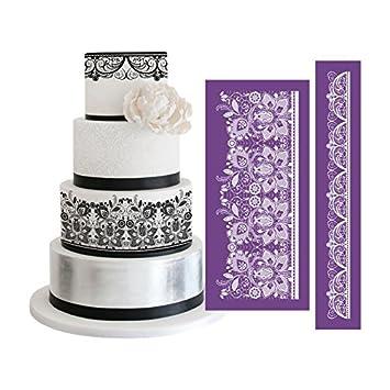 AK arte cocina 2pcs/set peonía diseño de malla plantilla para Royal Icing tarta de