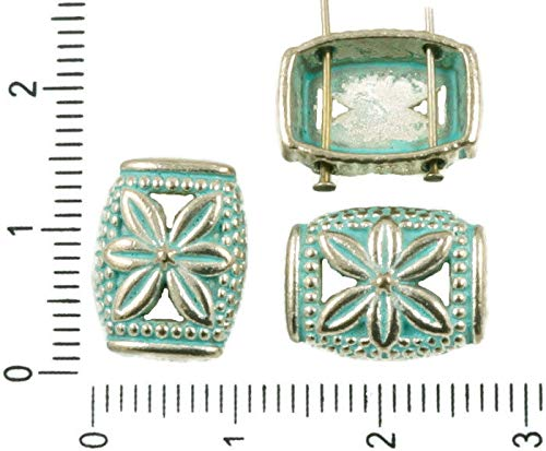 (10pcs Antique Silver Tone Turquoise Blue Patina Wash Rectangle Hollow Flower Slider Spacer Bar Two 2 Hole Beads 14mm x 10mm)