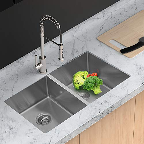 Stainless Steel Kitchen Sink - Lordear 32 Inch Undermount Sink Deep Double Bowl 50/50 16 Gauge Tight Radius Sink