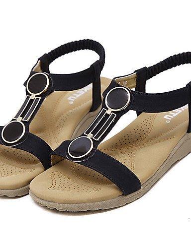 ShangYi Womens Shoes Synthetic Flat Heel Slingback Sandals Dress / Casual Black / Almond Black