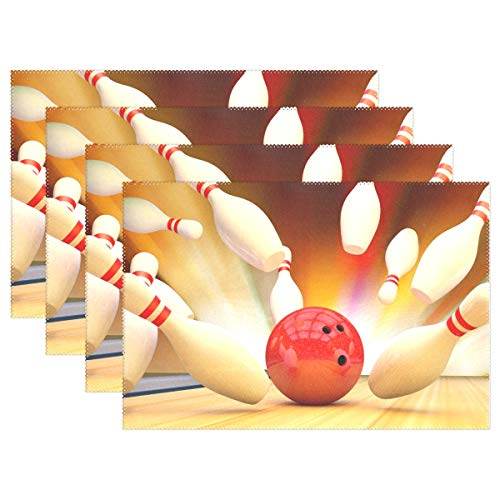 HEOEH Cool Sport Bowling Ball Placemats Table Mat Heat Resistant Washable Place Mats for Kitchen Dining -