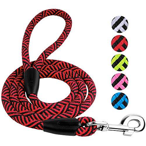 BronzeDog Dog Rope Leash 5 FT Durable Nylon Training Lead Medium Large Dogs Black Blue Pink Grey Green Red (Red)